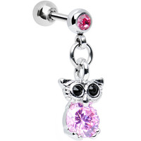 Pink Cubic Zirconia Enlightened Owl Dangle Tragus Cartilage Earring | Body Candy Body Jewelry