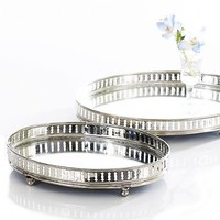 Silver oval galleried mirror trays