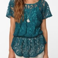 UrbanOutfitters.com > Pins and Needles Lace Peplum Top