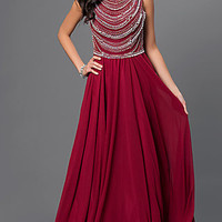 Long Sleeveless Dress with Bead Embellished Bodice