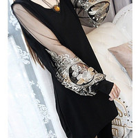 2016 Summer sweet chiffon dress embroidered lantern sleeve long-sleeved lace