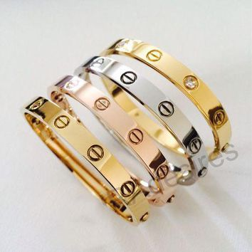 """Cartier""Stylish Unisex Casual Rose Gold Bracelet Screw Bracelet Lovers Bracelet I"