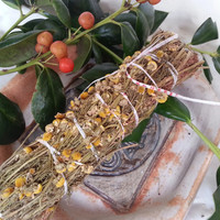Chamomile flower and stems Aspergillum bundle magick use Wicca, Greenwitch, Witchcraft, Hedge Witch, for magickal intent