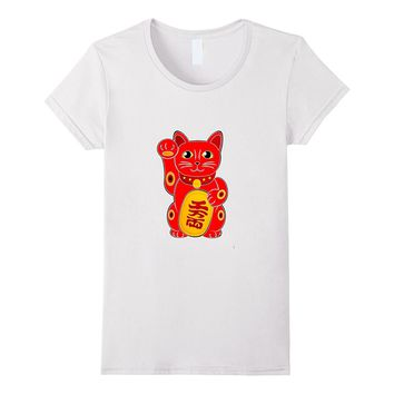 Red Maneki-neko Relationship Lucky Cat T-Shirt Relaxed Fit