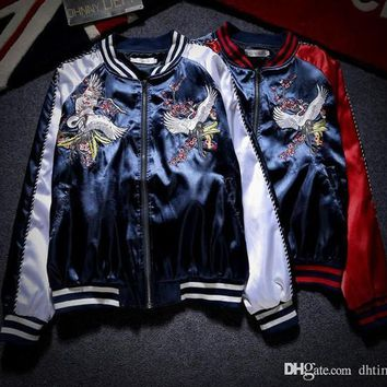 HOT Sale Embroidery Jacket Fashion Vintage Polit Jacket Yokosuka Hi-street Lovers Coat Baseball Uniform