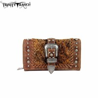 TR35-W010 Trinity Ranch Hair-On Buckle Secretary Style Wallet