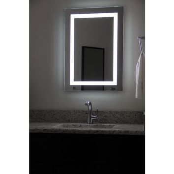 ISABELLA - LED Bordered Wall-Mounted Mirror with Bluetooth Speakers Medium and Large - Lighted Image
