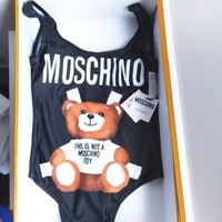 Moschino New Fashion Cute Bear Prints Halter One Piece Swimsuit Bikini  Red