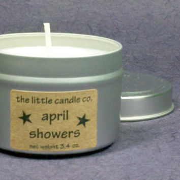 April Showers Soy Candle Tin - Hand Poured and Highly Scented Container Candles