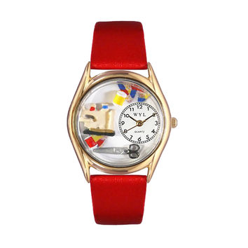 Whimsical Watches Healthcare Nurse Gift Accessories Love Quilting Themed Red Leather And Goldtone Watch