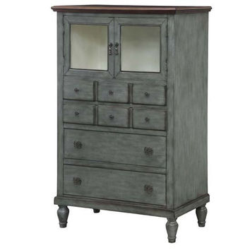 Bradford Antiqued Grey And Wood Tone 4 Drawer / 2 Door Pie Chest By Crestview Collection Cvfzr2166