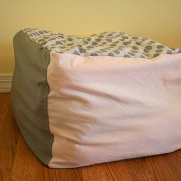Bean bag-style lounge chair cover for stuffed animals or blankets | Pink and Gray Polka Dots