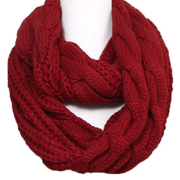 Chunky Knit Infinity Scarf in Crimson