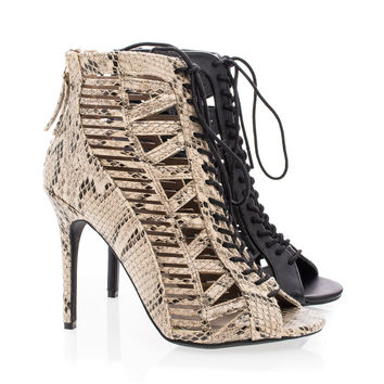 Princess34 Peep Toe Corset Lace Up Stiletto Heel Ankle Booties
