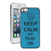 Light Blue Apple iPhone 5 5s Glitter Bling Hard Case Cover 5G481 Keep Calm and Play On Volleyball