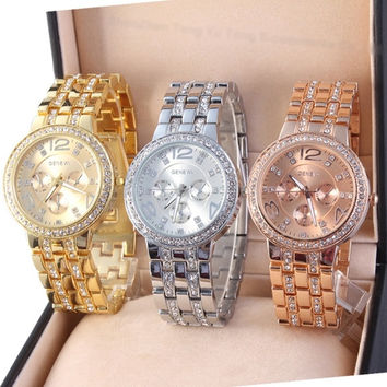 Three Color!Luxury Watch Analog Quartz Wristwatch Man Women Stainless Steel Band Wrist Watch Hot Ladies Girl Unisex Lady Watches Sliver Gold Rose = 1956610052