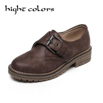 2017 Women Slip on Loafers Shoes Retro Buckle Brogues Shoes Woman &Black Brown Beige Oxford Shoes for Women Flat Platform Shoes