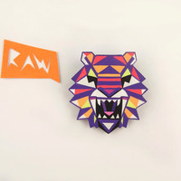 Tiger Head Brooch - Geometric Neon Hand Painted