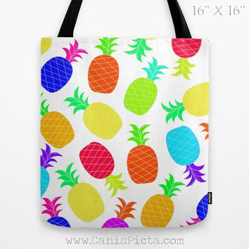 Colorful Pineapple Tote Bag 13x13 Graphic Pop Culture Lime Neon Fun Yellow Green Passion Fruit Gift Pink Orange Hot Blue Teal Vibrant Unique