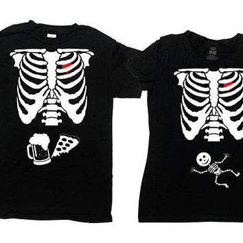 Halloween Couples Costumes Matching T Shirts Expecting Parents To Be Shirt Skeleton Costume Pregnancy Maternity New Mom Dad Tee - SA845-378