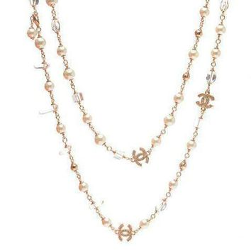 DCCKNQ2 Chanel Woman Fashion Logo Pearls Necklace For Best Gift-9