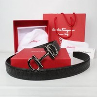 Perfect Salvatore Ferragamo Woman Men Fashion Smooth Buckle Belt Leather Belt