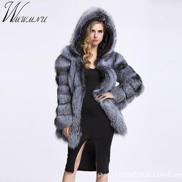 Wmwmnu long Sleeve Winter Women High Imitation Faux Fur Coat Jacket Fur Coat Women Clothes thick warm Fox Fur Coat plus Size 4XL