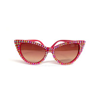SUNSET Red Rainbow Effect Crystal Encrusted Sunglasses - Sparkly Retro Bling Eyewear - Rhinestone Cat Eye Sunglasses - Pin Up Sunnies Shades