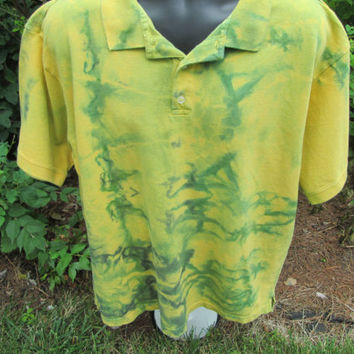 XLarge golden yellow, green tie dye Men's short-sleeved cotton upcycled Gap Select shirt for sports, comfortable relaxed fit,  button front.