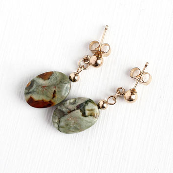 Estate Jasper Earrings - Vintage 14k Rosy Yellow Gold Filled Pierced Dangle Drops - Oval Green & Brown Chalcedony Gem Jewelry With GF Backs