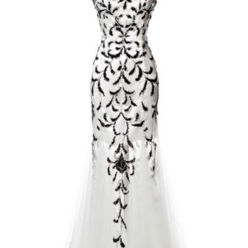 KC131521 White / Black Mermaid Prom Dress by Kari Chang Couture