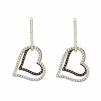 10kt Yellow Gold Women's Cognac-brown Color Enhanced Diamond Dangle Double Heart Earrings 1-2 Cttw - FREE Shipping (USA/CAN)