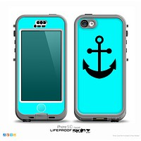 The Turquoise & Solid Black Anchor Silhouette Skin for the iPhone 5c nüüd LifeProof Case