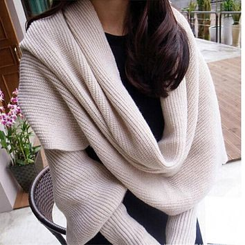 Fashion Woman Scarves Shawls Women Scarves Solid Sleeves Scarf Winter Warm Knitting Long Soft Wraps Scarves Novelty KH851919