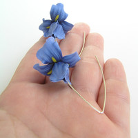 Blue iris - handmade polymer clay earrings - polymer clay jewelry