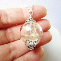 Dandelion Seed Glass Orb Terrarium Necklace, Small Orb in Silver, Make A Wish