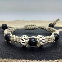 Adjustable Genuine Black Lava Rock and Handmade Bone Beaded Hemp Bracelet