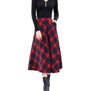2017 Autumn Winter Plus Size A Line Midi Woolen Plaid Skirts Faldas Mujer Women High Waist Long Maxi Tutu Pleated Skirt Saias