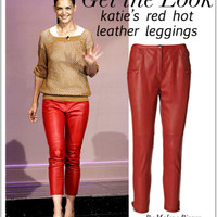 High Rise Cropped Topa Red Leather Pants (By Malene Birger)
