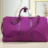 DCCK Lv Louis Vuitton Gb2974 M44642 Keepall Bandouli¨¨re 50 Denim Purple Soft Travel Bag Size 50.0x29.0x23.0cm