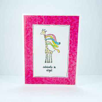 Giraffe Birthday Card, Happy Birthday Card, Celebration card, Celebrate in Style, Funny birthday card, Fashion lovers card, Pink White