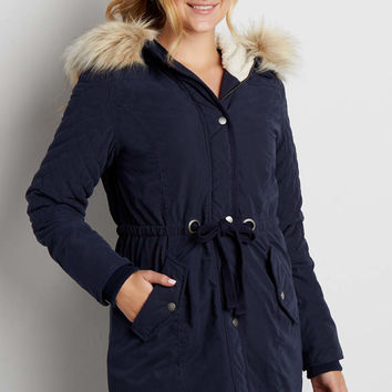 coat with quilted stitching and faux fur trimmed hood | maurices