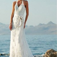 Buy discount  Fabulous Lace With Appliques A-line Halter Neckline Wedding Dress For Your Beach Wedding at dressilyme.com