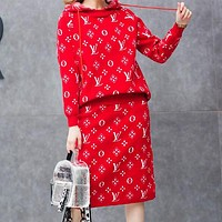 LV Louis Vuitton Autumn Winter Trending Women Stylish Jacquard Knit Long Sleeve Hooded Sweater Top Skirt Two-Piece Red