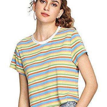 SheIn Womens Round Neck Short Sleeve Colorful Striped Crop Top