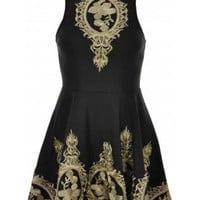 Black and Gold Baroque Embroidered Sleeveless Skater Dress