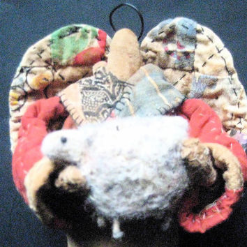 "OOAK Primitive Angel  ""Invulnerability""-Prairie Angel with Sheep-Original Folk Art Design from Vintage Quilt & Wool"