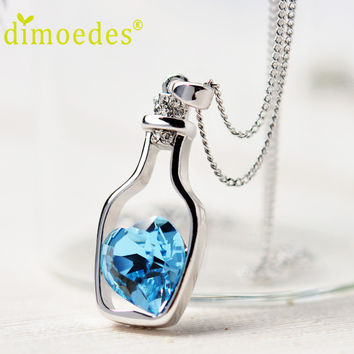 June 8 Fairy Store 2016 High Quality Lowest Price New Women Ladies Fashion Popular Crystal Necklace Love Drift Bottles  Collares