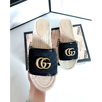 GUCCI tide brand female models straw fisherman shoes one pedal flat shoes fisherman slippers black