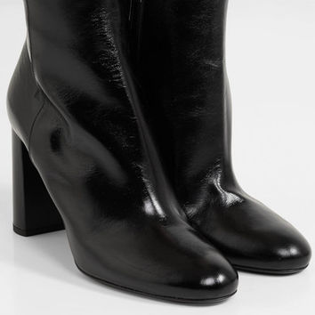 Saint Laurent - Loulou glossed-leather ankle boots